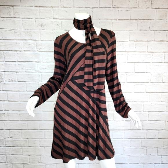 Comfy USA Blk/Brown Stripe Tunic/Scarf Size:XL